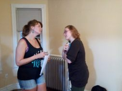 Cast members Emily Heath (L) and Alicia Queen (R) in rehearsal.