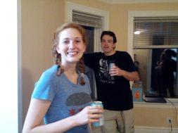 Cast members Flavia Pallozzi (L) and Zach Finch (R) in rehearsal.