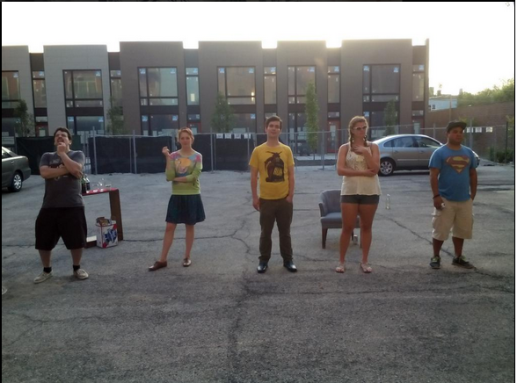 Outdoor rehearsal, L to R, Zach Finch, Flavia Pallozzi, Andrew Clancey, Emily Heath, Kyle Encinas (Not Pictured: Alicia Queen).